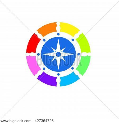 Colorfull Steering Ship With Compass  Vector Logo Icon Of Maritime Design
