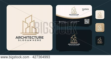 Monogram Line Architecture Building Unique Logo Finance Property Apartment. Logo Can Be Used For Ico