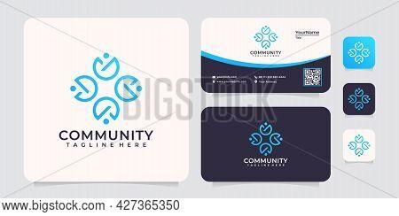 Social Community Monogram Unique Logo Unity Partnership. Logo Can Be Used For Icon, Brand, Identity,