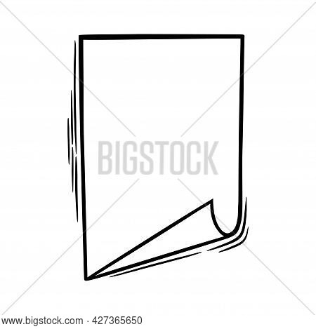 Doodle Paper With Rolled Corner. Empty Paper Sheet In Handdrawn Style. Doodle Vector Illustration Is