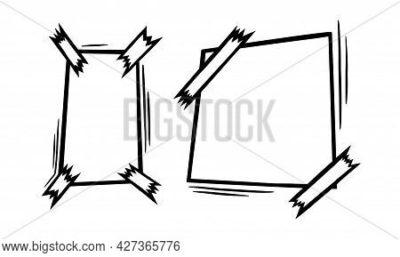 Doodle Paper Sheets With Sticky Tape. Empty Paper Pages For Scribbles And Messages. Doodle Vector Il