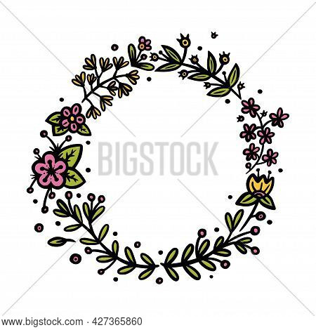 Flower Circle Wreath For Invitations And Bullet Jourmals Decoration. Circle And Oval Wreath Divider