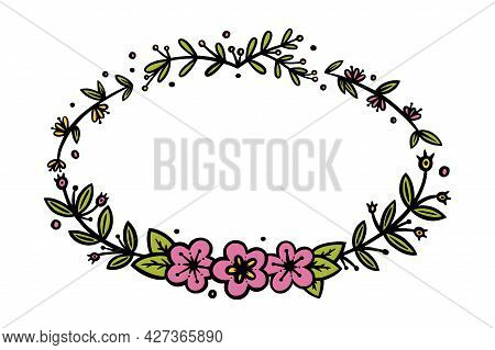 Flower Oval Wreath For Invitations And Bullet Jourmals Decoration. Oval Wreath Divider Or Frame. Doo