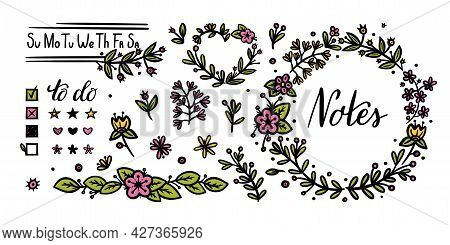 Bullet Journal Floral And Text Elements For Decoration. Flower Dividers And Handwritten Calligraphy