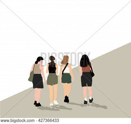 Cartoon Group Of Young Woman Characters Laughing And Hugging, Standing Together In Street Market, Fe