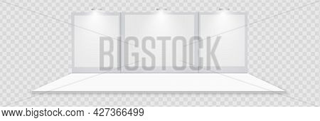 3d Exhibition Booth. White Empty Promotional Stand With Desk. Vector White Empty Geometric Square. P