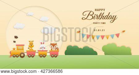 Cute Hippo, Cake And Elephant On Train Birthday Greeting Card. Jungle Animals Celebrate Children\'s