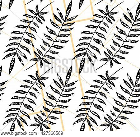 Seamless Pattern With Monochrome Tropical Leaves With Folk Decoration On Gold Geometric Lines. Textu