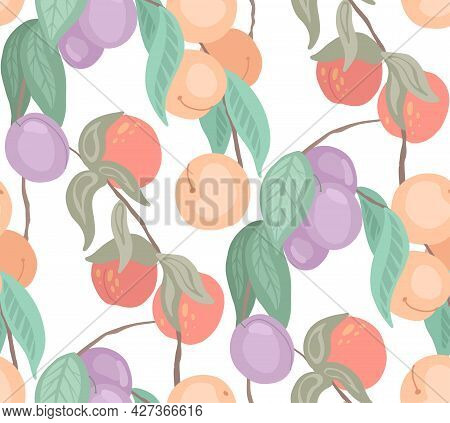 Seamless Flat Delicate Texture With Cherries, Peaches, Plums On Branches With Foliage On White Backg