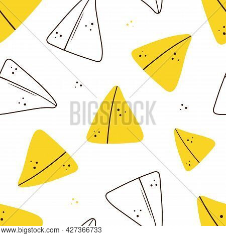 Doodle And Outlined Style Samosa, Indian Baked Savory Pastry And Dots Vector Seamless Pattern Backgr