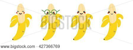 Yellow Banana Characters Set, Collection Cute Cartoon Style Icon, Illustration For Healthy Food Desi