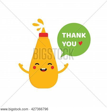 Cute And Happy Bottle Of Mustard Cartoon Style Character With Speech Bubble Saying Thank You, Showin