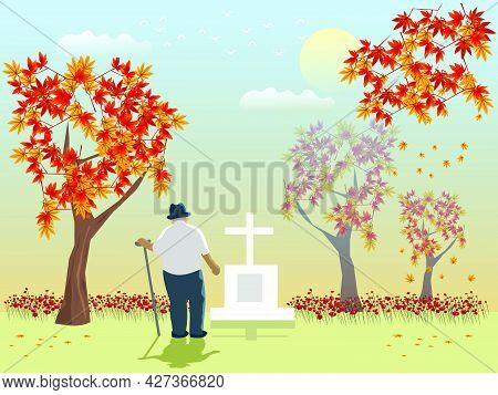 An Old Man Looks At His Lover's Grave With Maple Trees And Orange Sky In The Background.