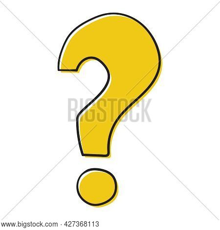 Question Mark Icon In Doodle Style. Help Symbol. Faq Sign On Blue Background. Quiz Vector Symbol.