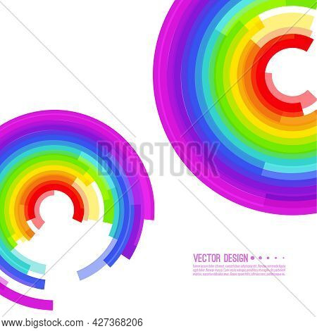 Vector Abstract Colorful Spectrum Background. Rainbow Circle Colored Stripes. Lgbt Pride Symbol