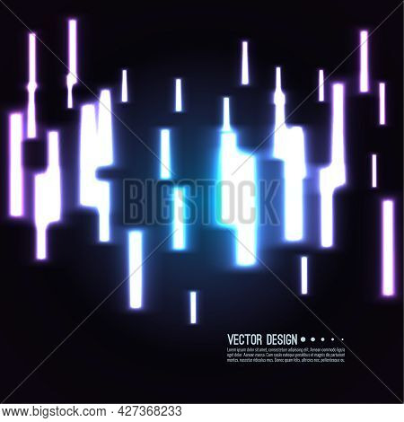 Abstract Vector Background With Chaotic Vertical Glowing Neon Lines.