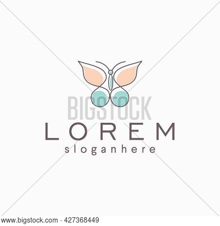 Butterfly Logo Line Art Beautiful Fly Wing Vector Illustration Abstract Icon. Fashion Boutique Linea