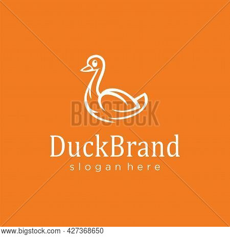 Goose Duck Logo Line Icon Symbol Design Vector Illustration. Swan Beautiful Logotype Emblem