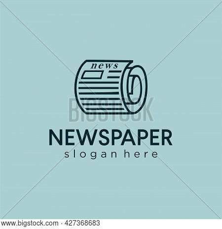 Newspaper Roll Logo Line Outline Icon Folded Document Design Vector Illustration