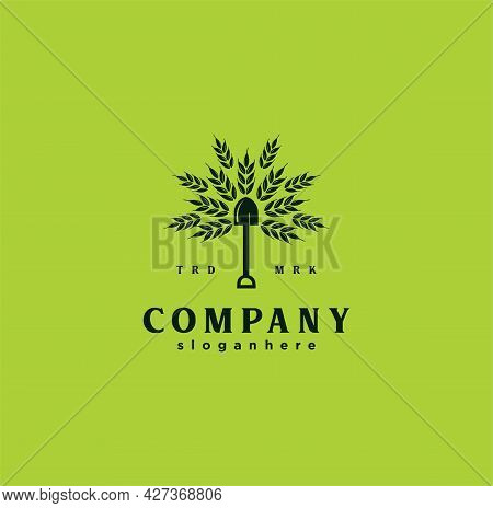 Shovel Tree Leaf Spade Nature Green Logo Icon Vector Design Illustration