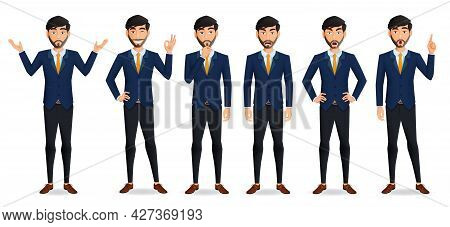 Businessman Boss Character Vector Set. Business Man Male Characters In Standing Pose With Serious, A