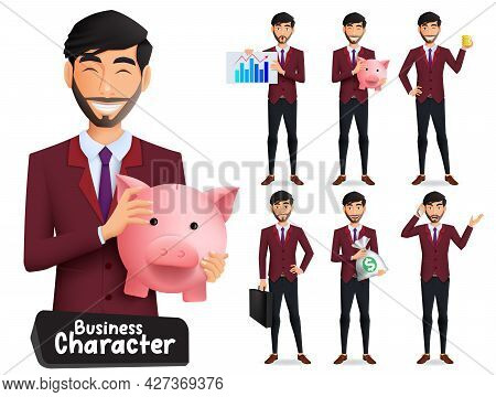 Businessman Characters Vector Set. Business Male Manager Character With Standing Pose And Holding Ge