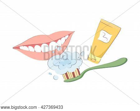 Set Of Dental Design Elements. Vector Illustration Of A Snow-white Smile, Toothbrush And Paste. Dent