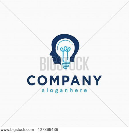 Smart Human Head Think Bulb Idea Logo Design Vector Illustration. Human Head Bulb Lamp Logo Icon Int