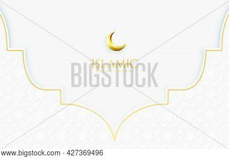 Islamic Elegant White And Golden Luxury Background With Decorative Islamic Pattern For Eid Mubarak C