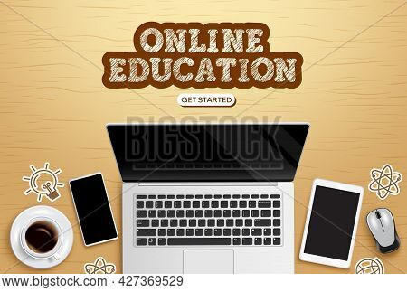 Online Education Vector Design. Online Education Text With Laptop, Phone And Tablet Device Elements