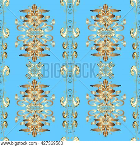 Graphic Modern Seamless Pattern On Blue, Brown And Beige Colors. Sketch Baroque, Damask. Seamless Fl