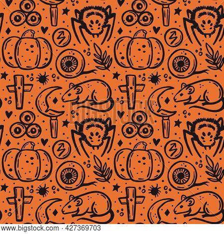 Halloween. Day Of Dead. Black Ink Vector Seamless Pattern. Pumpkin, Spider, Rat, Knife, Christian Cr
