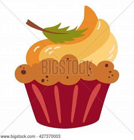 Pumpkin Muffin. Fall Season Dessert. Homemade Holiday Baked Goods. Muffins With Cheese Cream And Aut