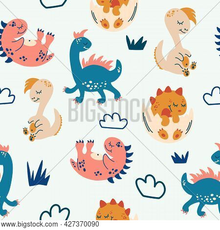 Seamless Pattern With Cute Dinosaurs. Creative Childish Texture For Fabric, Wrapping, Textile, Wallp