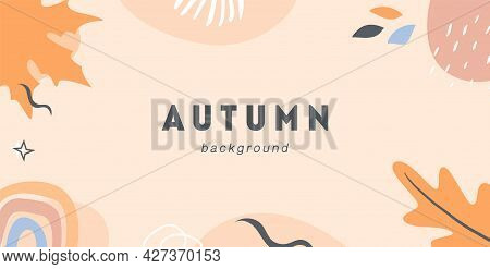 Autumn Mood Horizontal Banner Template. Trendy Abstract Background With Fall Season Forest Leaves, S