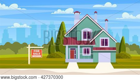 Real Estate Concept. House For Sale. Suburban House With Sign For Sale And Garage. Cartoon Residenti