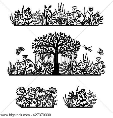 Set Of Silhouettes Of Plant Themes. Panels With Wood, Meadow, Flowers, Herbs, Leaves, Twigs And Inse