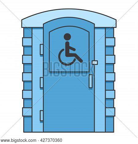 Toilet For Disabled People. Mobile Portable Bio Toilet Icon. Front View. Blue Plastic Closet Wc. Vec