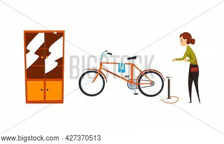 Garage Sale, Woman Selling Or Byuing Old Unnecessary Things At Flea Market, Retro Bike And Old Cupbo