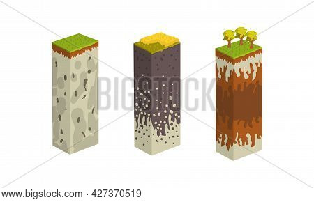 Stratigraphic Columns With Cut Of Soil Set, Geological Sections Cartoon Vector Illustration