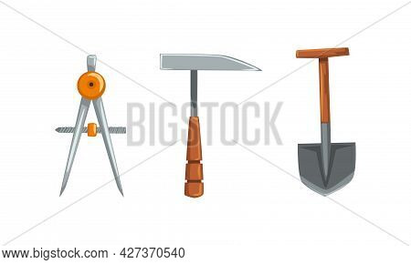 Geological Mining Industry Equipment Set, Pickaxe, Compass Tool, Shovel Cartoon Vector Illustration
