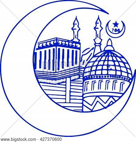 Sketch Of Decorative Crescent Moon And Muslim Temple, Mosque Design Outline Editable Illustration