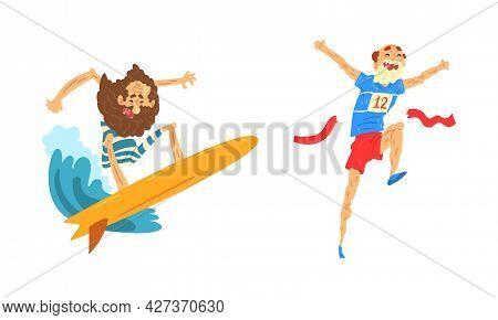 Elderly People Fun Leisure Activities Set, Senior Man Riding Surfboard And Taking Part In Marathon C