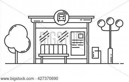 Bus Stop Vector Line Art Illustration. Public Transport Station, Bus Terminal. Vector Outline Isolat