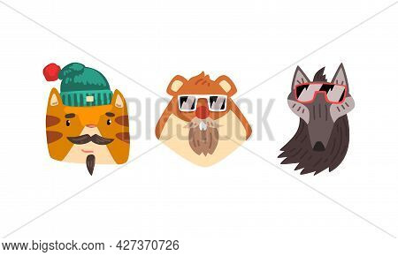 Hipster Animals Set, Portrait Of Cat, Hamster, Wolf In Retro Sunglasses And Caps Cartoon Vector Illu
