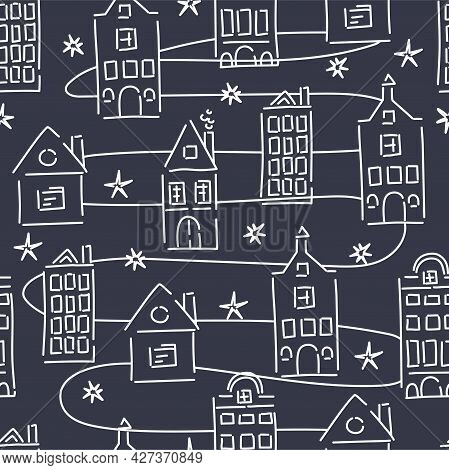 Houses Have A Seamless Pattern. Abstract And Lines, Spots. Fashionable Print. Vector Illustration.