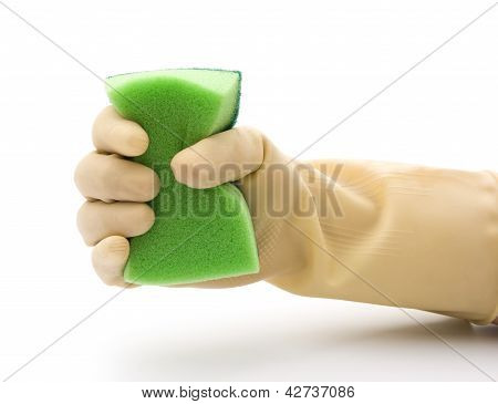 grabing a double side green cleaning sponge poster