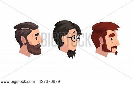 Profile Male And Female Portraits Set, Young Man And Woman With Various Haircuts Cartoon Vector Illu