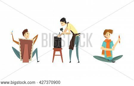 People Of Creative Professions Set, Sculptor Working On His Sculpture, Artist Painting On Canvas Car