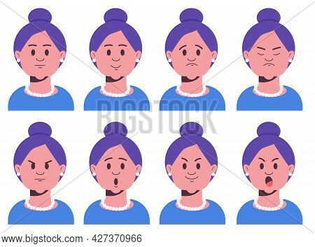 Face Expressions Of Grandmather. Set Of Old Female Emotional Characters. Avatars With Neutral, Surpr